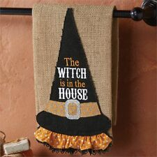 Mud Pie~Halloween Burlap Witch Hat Kitchen/Hand Towel~The Witch is in the House