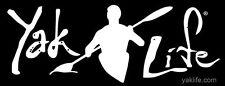 3x8 inch Black YAK LIFE Bumper Sticker -licensed decal kayak kayaking kayaker