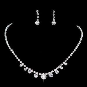 Das Beste Schmuckset Set Halskette Ohrringe Strass Metall Hochzeit Braut Silber/klar