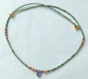Garnet Afghan Natural Lapis Lazuli Tiny Seed Bead Necklace with Citrine Pendant