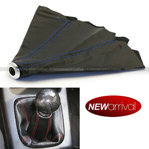 For Sc1 4 Row Blue Stitches Carbon Fiber Look Shift Knob