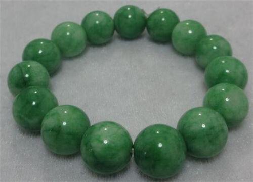 10MM NATURE BEAUTIFUL GREEN JADE JADEITE BRACELET GREEN HAND CATENARY