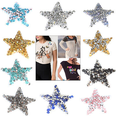 1//5pcs Pearl Beaded Diamante Star Applique Patch Iron//Hot Fix for Gown Jeans Bag