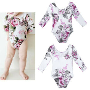 ccc34dafe Kids Baby Girls Flowers Long Sleeve Romper Toddler Bodysuit Jumpsuit ...