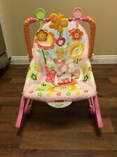 Fisher-Price Infant To Toddler Bouncer Portable Rocker Pink Bunny Vibrating