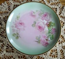 "Vintage CT Altwasser Silesia 8 1/4"" Green Plate w/ Pink Roses ~"