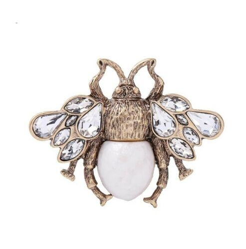 Bumble Bee Vintage Style Large Crystal Pearl Pin Brooch UK seller Gift