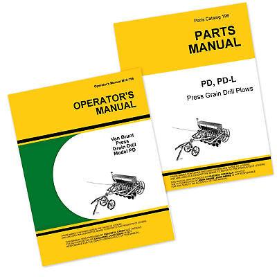 Vintage John Deere Operator/'s Manual Van Brunt Model PD Press Grain Drill