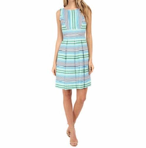Nine West Dress Sz 16 Coastal Grün Multi Sleeveless Striped Cocktail Dress