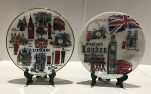 2-X-London-Ceramic-Decoration-Showpiece-Plates-with-Display-Stand-Souvenir-Gift