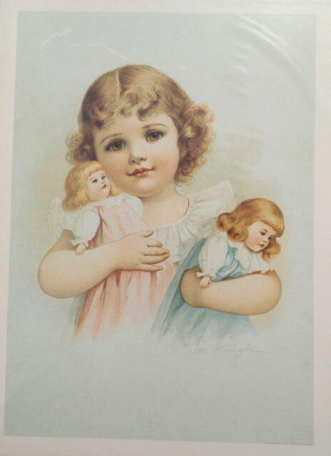 """Victorian Lithograph Print Picture /""""Sympathy/"""" Little Girl With Puppy Dog  16X23"""