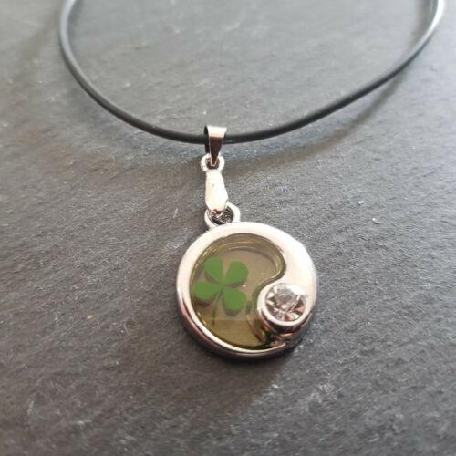 Collar 4 trébol auténtico trébol remolque amuleto trébol