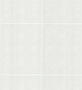 Damask tiles raised white textured paintable wallpaper for Paintable wallpaper home hardware
