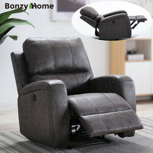 Details about Electric Power Recliner Chair Luxury Suede Overstuffed Backrest Seat w USB Port