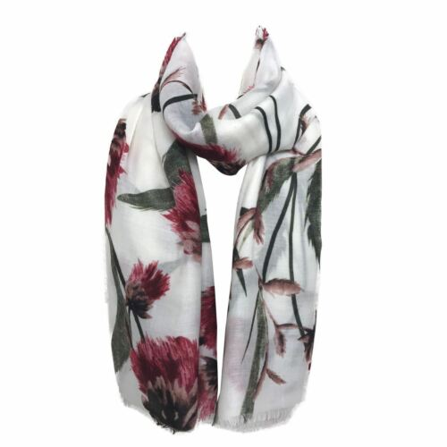 Ladies blooming flower print hijab maxi fringed edge head scarf