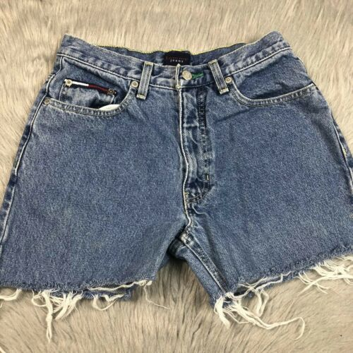 Vintage 90s Womens my Jeans Logo Cut Off Frayed Denim Shorts