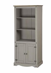 Freestanding Kitchen Tall Cabinet Unit Pantry Cupboard Storage Larder Grey Waxed Ebay