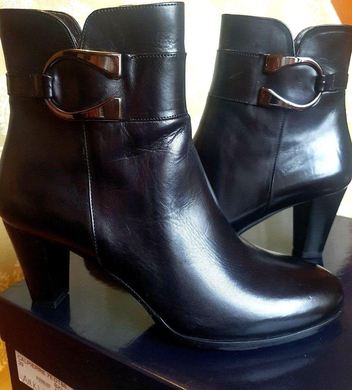 CALPIERRE Cuir Noir Bottines bottes.zip décoratif Boucle Taille UK 6