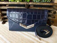 Brighton Mingle Envelope Leather Large Organizer Wallet Purse Ink Blue