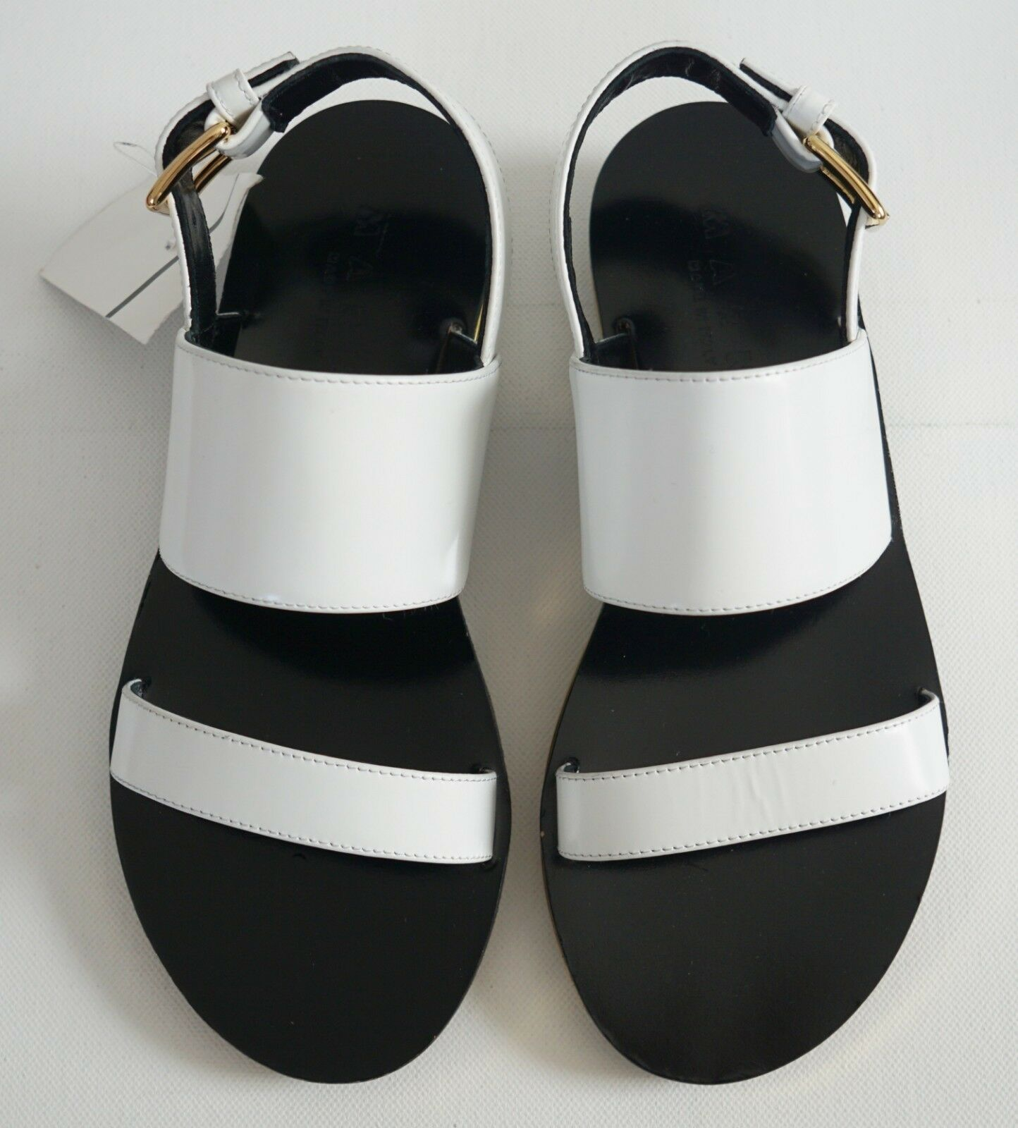 New Authentic MARNI White Leather Slingback Flat Sandals shoes EUR-36 US-6