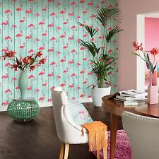 Wallpaper Rasch - Barbara Becker Flamingo on Wood Panels - Pink / Teal - 479706