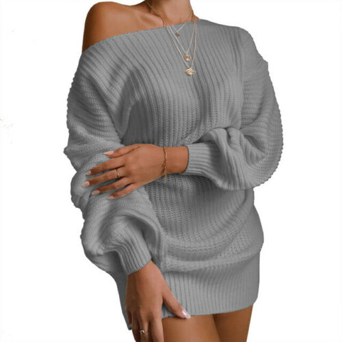 Women/'s Long Sleeve Pullover Baggy Tops Cold Shoulder Knit Mini Sweater Dress