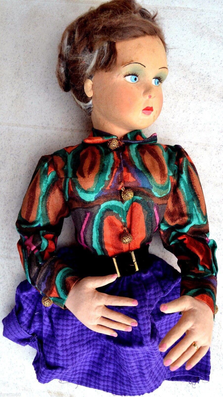Bambola anni 40 50 sguardo laterale tipo Lenci, da poltrona (no gambe)