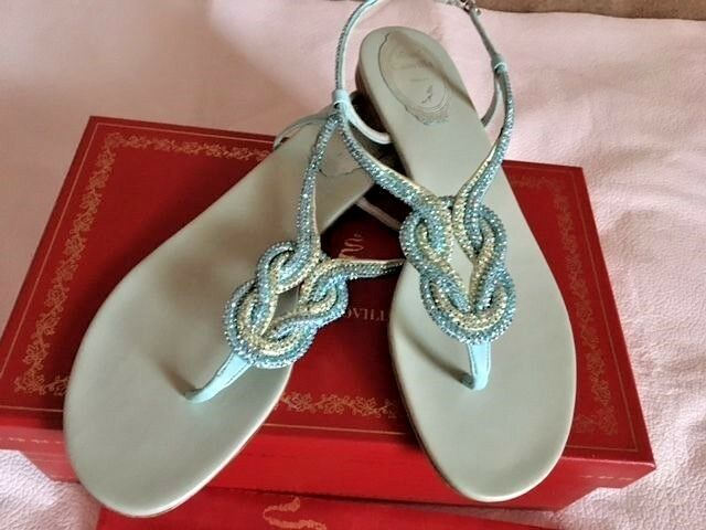 RENE CAOVILLA CRYSTAL TWIST-STRAP LEATHER FLAT SANDALS AQUA AQUA AQUA 38.5 8.5 NIB  1260 ae99f9