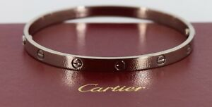 Image Is Loading Cartier 18k White Gold Love Bracelet Size 21