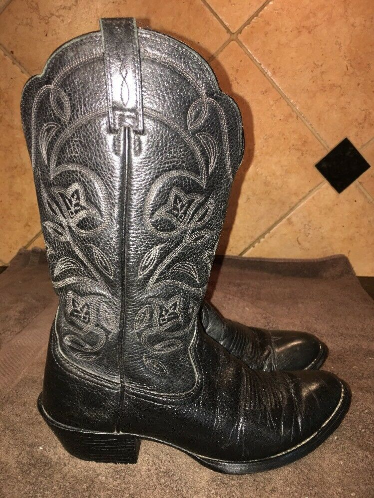 EUC Ariat Black Leather Cowboy Western Boots Sz 6.5 B