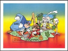 Tanzania 1991 Disney/Mickey Mouse/Mountie/Train/Films/Cinema/Cartoons m/s d00283