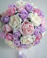 Spose,Damigella,asole Bouquet Per Matrimoni Fiori Ivory/Lilla/Rosa confetto