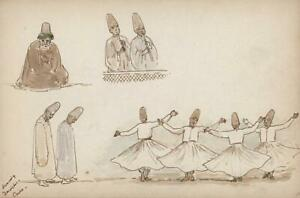 DANCING-DERVISHES-CAIRO-EGYPT-Watercolour-Painting-1888-MARY-E-CRAWHALL