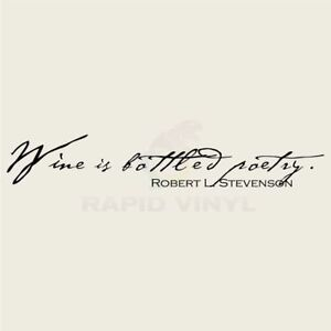 WINE IS BOTTLED POETRY Wall Decal Wall Sticker Home Family Wall Art Decal