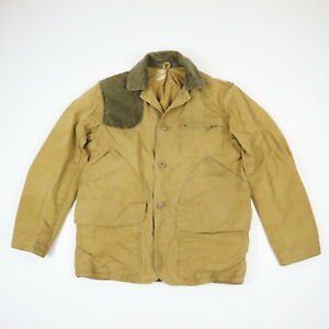 Vtg-Canvas-Hunting-Jacket-w-Corduroy-Collar-Faded-Brown-Mens-XS-S