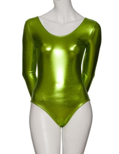 Ladies Girls Long Sleeve All Colours Metallic Leotard Dance Fancy Dress KDC029
