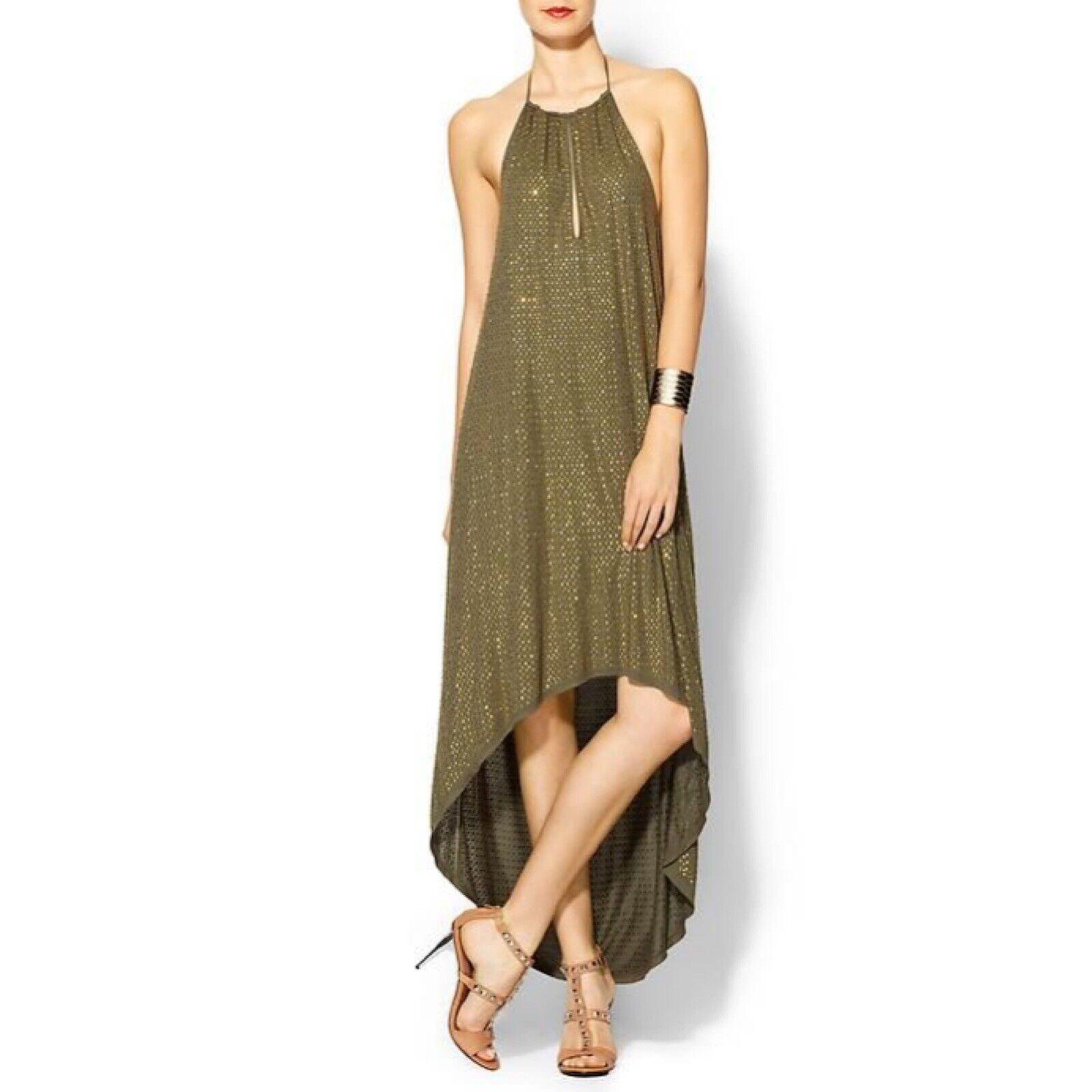 Haute Hippie  495 SMALL, embellished guld Rhinestone High Halter grön Dress