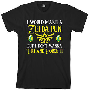 Zelda-Pun-Try-And-Force-It-Men-039-s-T-Shirt-Funny-Video-Game