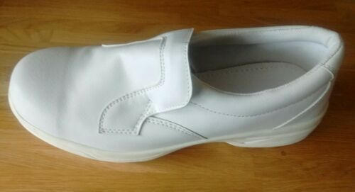 BIANCO Di Sicurezza Slip On PANETTERIA industria alimentare scarpe di fabbrica-Shock Assorbenti Suole