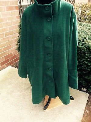 cf06ec64b96 SALE NEW WOMAN WITHIN PLUS SIZE WOMEN FLEECE SWING COAT GREEN 2X