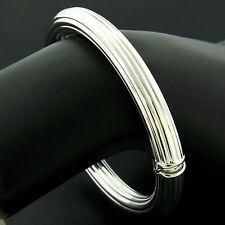 """Italian 7"""" 14K White Gold 7.8mm Grooved Tube Hinged Open Bangle Bracelet 12.20g"""