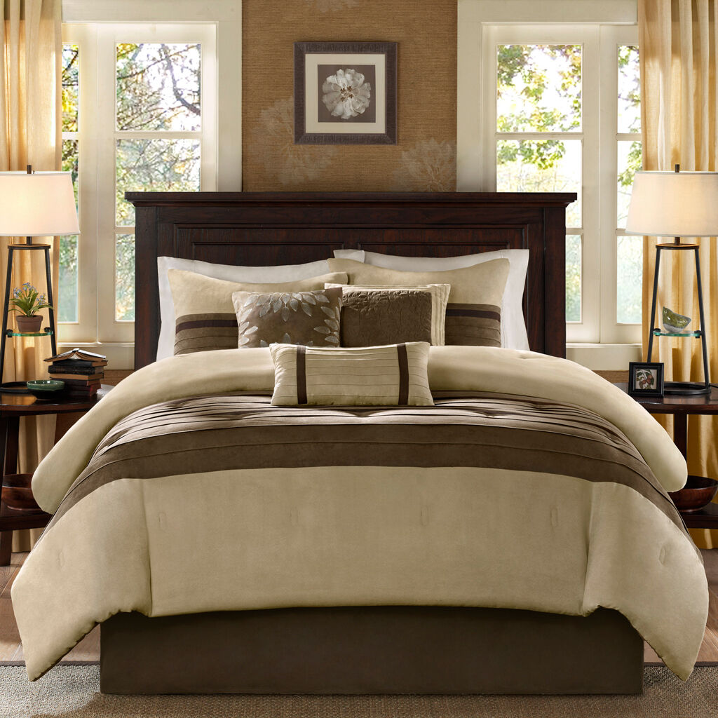 BEAUTIFUL SOFT MODERN ELEGANT braun BEIGE TAN KHAKI 7PC TEXTUrot COMFORTER SET