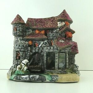 Vintage-Halloween-Ceramic-Haunted-House-Manison-Ghost-Light-CREEPY-Village-7-034