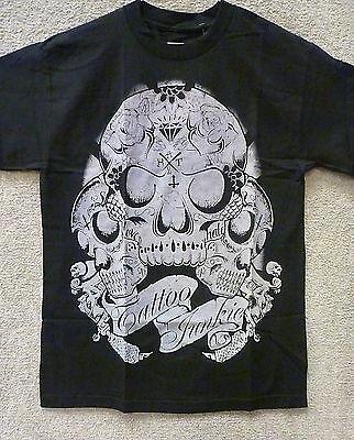 "187 Inc Men's T-Shirt ""Tattoo Junkie Skulls"" -- Color Black/Tan"
