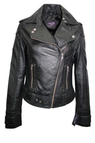 Luxury Ladies Stylish Jacket Black Real Italian Nappa Leather Biker Style Design
