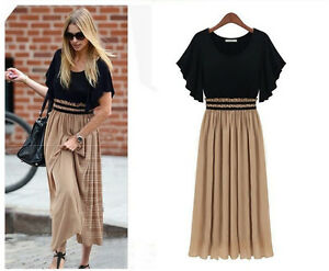 1c7f92644a4 Women Girl Chiffon Long Maxi Dress Pleated Clothes Plus Size Empire ...