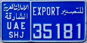 GENUINE-United-Arab-Emirates-Sharjah-Export-License-Licence-Number-Plate-35181