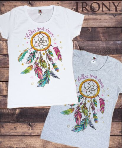 """Womens Tee /""""Follow Your Dreams/"""" feathers Design-Stars Print TS640"""