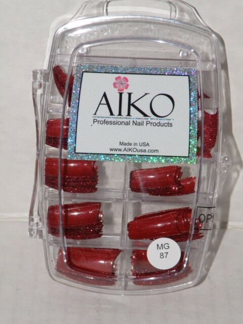 Aiko Professional Nail Tips Red Glitter With Highlights 70 Nip