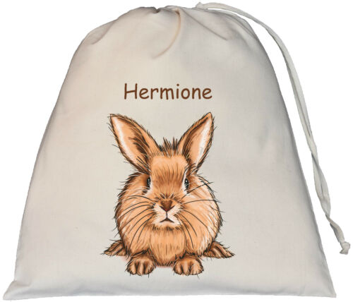 Bunny Rabbit Design Personalised Large Natural Cotton Drawstring Bag